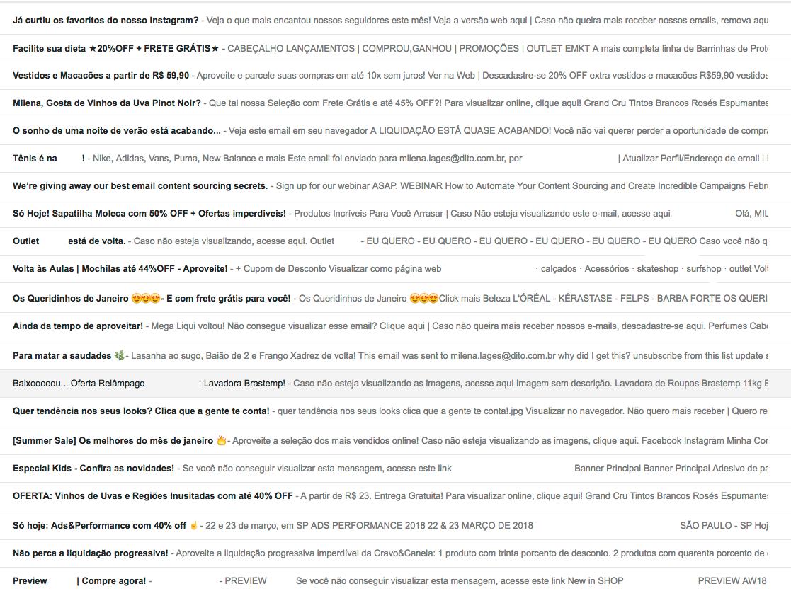 Essa é minha caixa de entrada dos e-mails na aba Promoções. Veja como os emojis são os que mais chamam atenção.