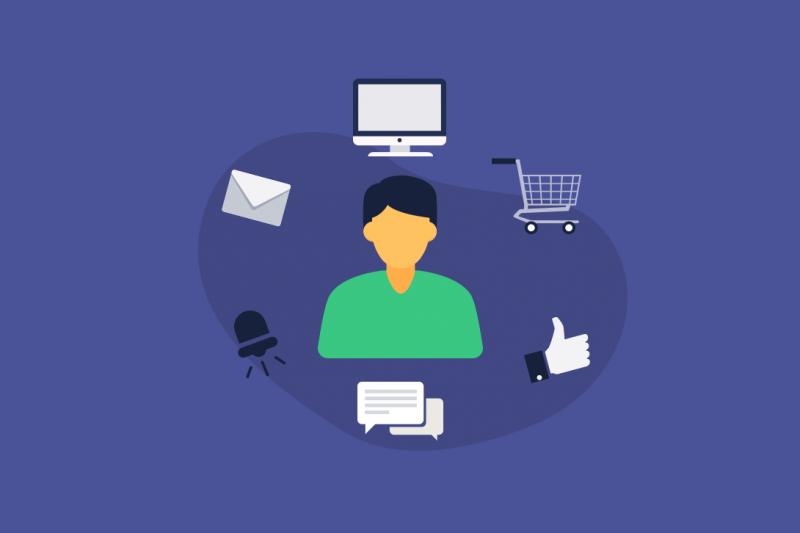 Na imagem vemos um desenho de uma pessoa com elementos em torno dela relacionados à Marketing e Mídia: e-mail, computador, carrinho de compras, curtida do Facebook, mensagem e um sino de notificação.